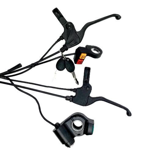 Элементы управления для электросамоката Kugoo G1 (Ручки тормозов, вольтметр с ключом, контроль привода)